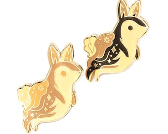 Ghost Bunny Glow In The Dark Enamel Lapel Pin Badge / Artist Series pin by Teagan White / Halloween Rabbit Cute Spooky Dead Animal Forest