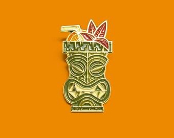 Tiki Mug Drink Enamel Lapel Pin / Polynesian Jewelry / Beach Themed Accessory / Hawaiian inspired gift / Tiki Bar