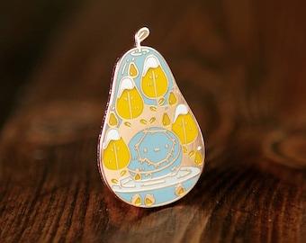 Peararrium Enamel Lapel Pin Badge / Artist Series pin by Mochichito / Cute kawaii pear themed fruit copper Adventure Time Snow Golem