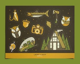 Wanderlust Sticker Set // Screen-Print  Kiss-Cut Silk-screen Stickers Sheet // Vintage Camping Camp Adventure Explore Spring Forest Gift