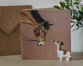 Jack Russell dog and Horse Greetings Card - blank inside