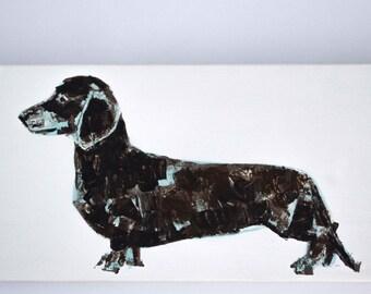 Miniature Dachshund Blue and Brown - Acrylic on Canvas - Original