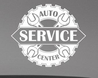 Auto Service Center Logo Window Sticker Custom Vinyl Decal Repair Car Station Sign Garage Wall Decorations Removable Art Decor aus5