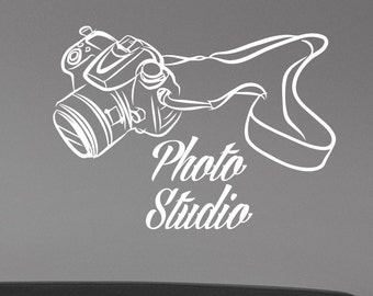 Photography Studio Logo Wall Decal Vinyl Window Sticker Camera Art Decorations for Business Room Office Salon Photo Studio Decor pst1