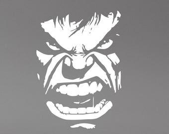 Incredible Hulk Face Wall Decal Superhero Vinyl Sticker Art Marvel Comics Decorations for Home Boys Room Comic Book Super Hero Decor hlk5
