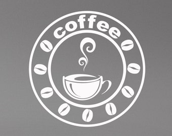 Coffee Wall Decal Window Sign Vinyl Sticker Modern Cafe Logo Art Decorations for Coffee Bar Shop House Dinning Room Kitchen Decor cff2