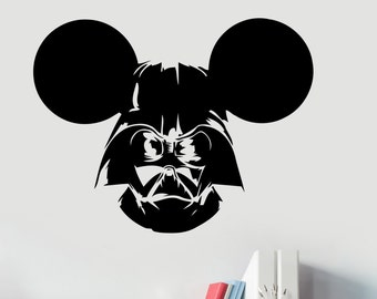 Darth Vader Sticker Star Wars Wall Decal Mickey Mouse Art Decorations for Home Housewares  Living Room Bedroom Dorm Movie Decor sws14