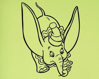 Dumbo Wall Decal Vinyl Sticker Disney Movie Art Decorations for Home Childrens Kids Room Nursery Decor dumb2