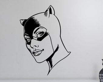 Catwoman Head Wall Decal Vinyl Sticker Superhero Art Decorations for Home Living Room Bedroom Kids Girls Room Decor ctw3