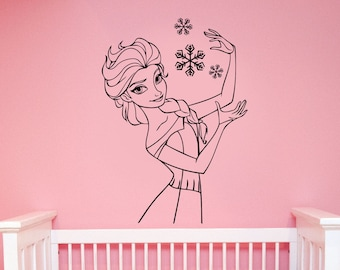 Queen Elsa of Arendelle Sticker Frozen Disney Princess Wall Decal The Snow Queen Art Decorations for Home Girls Room Cartoon Decor elq2
