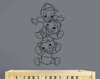 Disney Wall Decal Duck Tales Huey Dewey Louie Removable Vinyl Sticker Cartoon Art Vintage Decorations for Home Kids Room Nursery Decor dks3