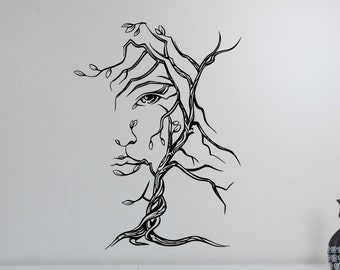 Tree Woman Face Wall Decal Window Vinyl Sticker Sexy Girl Nature Art Decorations for Home Housewares Room Bedroom Beauty Salon Decor mwt1