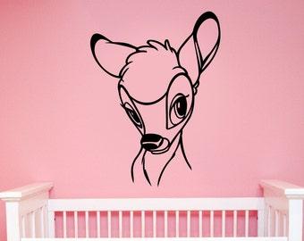 Bambi Wall Sticker Removable Vinyl Decal Deer Art Disney Decorations for Home Kids Boys Girls Nursery Baby Shower Cartoon Decor bem3