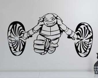 Ninja Turtles Wall Decal TMNT Sticker Michelangelo Art Superhero Decorations for Home Teen Kids Boys Room Bedroom Video Game Decor nts3