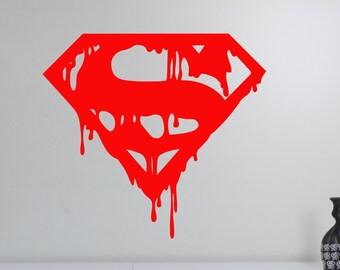 Superman Logo Wall Decal Vinyl Sticker DC Comics Superhero Art Decorations for Home Housewares Teen Kids Boys Room Bedroom Decor sup7