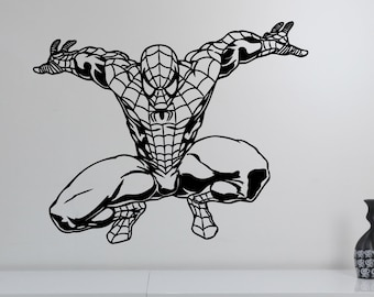 Spiderman Wall Sticker Vinyl Decal Marvel Comics Art Superhero Decorations for Home Teen Kids Boys Room Bedroom Playroom Decor spm3