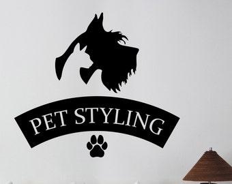 Pet Grooming Logo Wall Sticker Vinyl Decal Window Animal Decorations Pet Dog Puppy Shop Salon Decor petg5