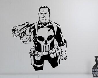 Punisher Wall Decal Vinyl Sticker Marvel Comics Antihero Art Decorations for Home Kids Boys Room Bedroom Movie Decor pur2