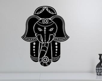 Hamsa Hand Wall Decal Indian Elephant Vinyl Sticker African Islamic Pattern Symbol Art Hand of Fatima Decorations for Home Room Decor hmh1