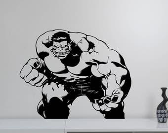 The Hulk Vinyl Wall Decal Removable Avengers Superhero Sticker Marvel Comics Art Decorations for Home Children's Room Comic Book Decor hlk3