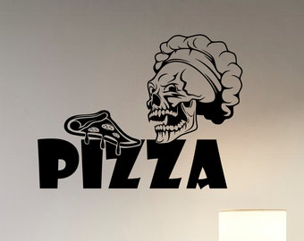 Pizza Decal Pizzeria Logo Vinyl Sticker Window Cook Sign Cooking Art Decorations for Italian Restaurant Cafe Kitchen Dinning Room Decor piz1