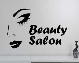 Beauty Salon Logo Wall Sticker Vinyl Decal Make Up Styling Woman Face Art Decorations Beauty Parlor Shop Window Mirror Decor beauty5