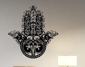 Hamsa Hand Wall Sticker Vinyl Decal African Pattern Symbol Art Hand of Fatima Decorations for Home Indian Yoga Studio Dorm Room Decor hmh3