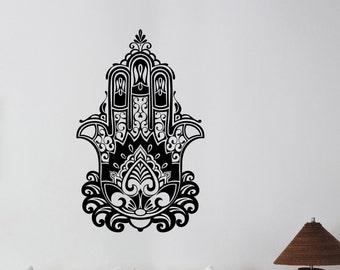 Hamsa Hand Wall Decal Vinyl Sticker African Pattern Symbol Art Hand of Fatima Decorations for Home Indian Yoga Studio Dorm Room Decor hmh2