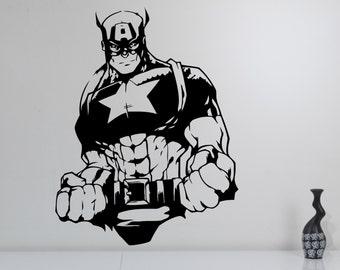 Captain America Wall Sticker Vinyl Decal Marvel Comics Superhero Decorations for Home Housewares Bedroom Teen Kids Boys Room Decor cpa5