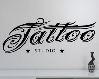 Tattoo Studio Logo Wall Decal Beautiful Sign Vinyl Sticker Window Art Decorations Tattoo Salon Room Decor tast2