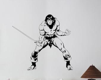 Conan the Barbarian Wall Decal Gladiator Comics Superhero Vinyl Sticker Art Swordsman Decorations for Home Room Bedroom Movie Decor cb2