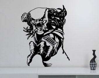 Predator Wall Sticker Removable Vinyl Decal Horror Alien Movie Monster Art Decorations for Home Housewares Living Room Bedroom Decor pr2