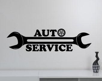 Auto Service Logo Wall Sticker Custom Vinyl Decal Repair Car Station Sign Garage Decorations Window Removable Art Decor aus4