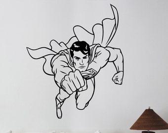Superman Vinyl Decal Wall Sticker DC Comics Super hero Art Decorations for Home Housewares Teen Kids Boys Room Bedroom Cartoon Decor sup8