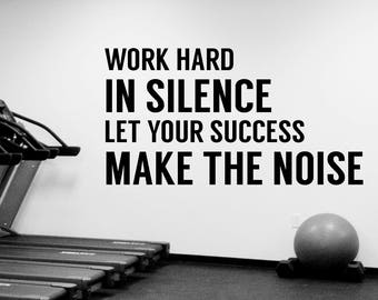 Fitness Motivational Quote Wall Decal Work Hard Sticker Vinyl Lettering Inspirational Art Decorations for Gym Sports Room Center Decor fgm4