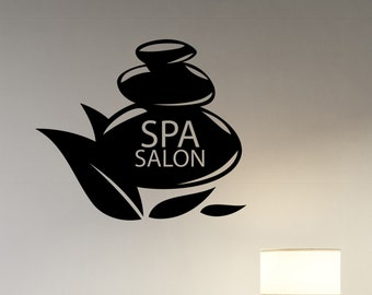 Spa Logo Vinyl Decal Window Sticker Massage Therapy Health Beauty Salon Wall Decorations Bathroom Room Sign Mirror Decor spas3