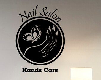 Nail Salon Logo Decal Vinyl Window Sticker Manicure Fashion Art Decorations for Office Spa Beauty Hair Salon Room Wall Decor nsl3