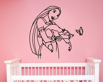 Pocahontas Wall Sticker Vinyl Decal Disney Princess Art Decorations for Home Teen Kids Girls Baby Room Playroom Bedroom Decor pocs2