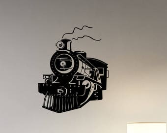 Train Wall Decal Vintage Locomotive Vinyl Sticker Retro Travel Art Steam Train Decorations for Home Living Room Transportation Decor lt4