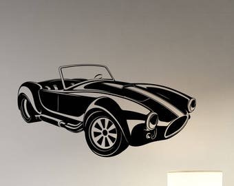 Cobra Retro Car Wall Sticker Classic Automobile Vinyl Decal Vinatge Cabriolet Vehicle Art Decorations for Home Room Bedroom Garage Decor cs4