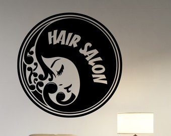 Hair Salon Logo Decal Vinyl Sticker Barber Barbershop Mirror Window Decorations Hairdressing Haircut Hairstyle Salon Wall Decor hair4