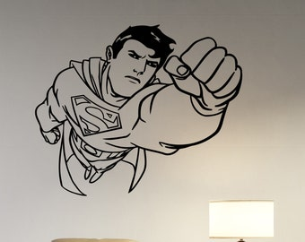 Superman Wall Decal Vinyl Sticker DC Comics Superhero Art Decorations for Home Housewares Teen Kids Boys Room Bedroom Cartoon Decor sup4