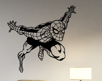 Spiderman Vinyl Sticker Wall Decal Marvel Comics Art Superhero Decorations for Home Teen Kids Boys Room Bedroom Playroom Movie Decor spm4