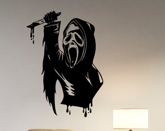 Ghostface Wall Sticker Removable Vinyl Decal Scream Scary Movie Art Decorations for Home Housewares Living Room Bedroom Office Decor scm2