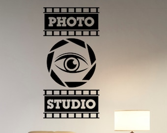 Photo Studio Logo Wall Sticker Window Decal Camera Eye Stripe Vinyl Art Decorations for Business Room Office Photo Studio Custom Decor pst5