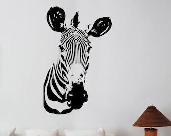 Zebra Head Wall Sticker Removable Vinyl Decal African Horse Wildlife Art Decorations for Home Dorm Room Bedroom Office Safari Decor zb9