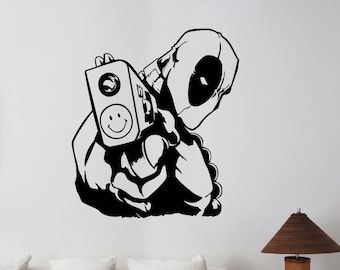 Deadpool Wall Sticker Vinyl Decal Marvel Comics Superhero Art Decorations for Home Living Room Bedroom Kids Boys Room Decor dpl6