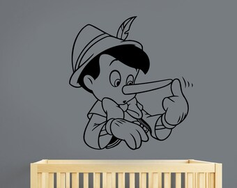 Pinocchio Wall Decal Vinyl Sticker Cartoon Art Disney Decorations for Home Kids Boys Baby Room Bedroom Playroom Decor pino1