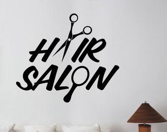 Hair Salon Logo Vinyl Sticker Wall Decal Barber Barbershop Mirror Window Decorations Hairdressing Haircut Hairstyle Salon Decor hair5