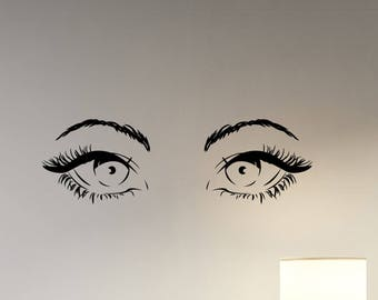 Sexy Woman Eyes Wall Sticker Hot Female Look Eyelashes Vinyl Decal Fashion Art Make Up Decorations for Home Beauty Salon Room Decor wes2